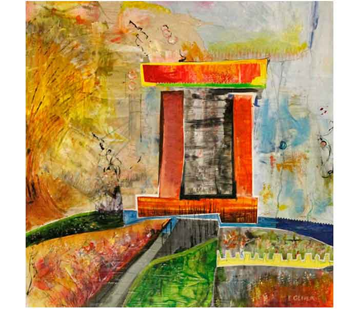 Memorial-Monument-Forgotten-Before-Completion-Slowly-Settles-into-the-Sea-Acrylic-tempera-pencil-on-panel