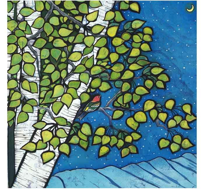 Tanagers-Dream-Mixed-Media-batik-acrylic-16inch-x16inch