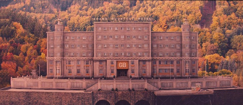 A digital matte painting and a miniature were composited to create the hotel exterior in 1968, after Communism has allowed the place to decayCourtesy of Grand Budapest Hotel © 2014 Twentieth Century Fox Film Corporation