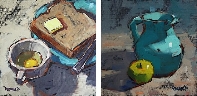 Cathleen Rehfeld paints a new painting each day and shares it on her blog. It is evident that a larger brush does not impinge upon your ability to record tone, capture lighting conditions or render form
