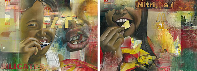 These images were created in Photoshop, using scanned images of paintings that were digitally overlaid using different transparencies, with text added.