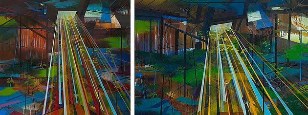 These vibrant, architecturally-inspired abstract works by Susan Danko